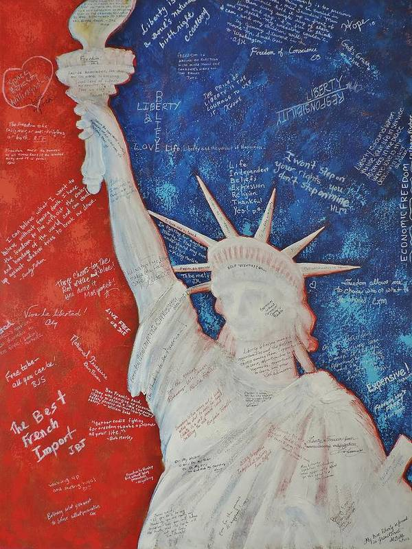 Statue Of Liberty Poster featuring the painting Liberty Is... by Margaret Bobb