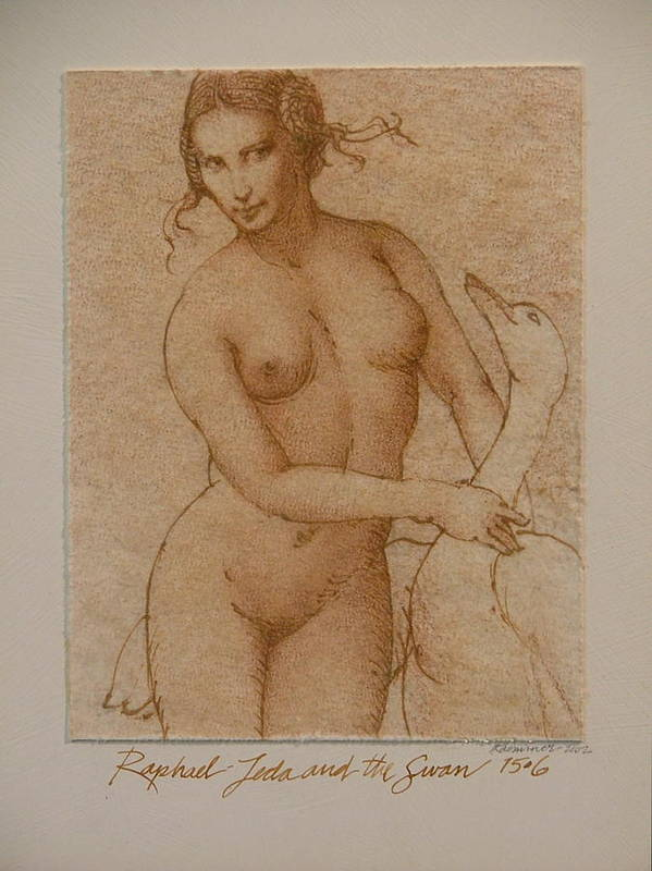 Classic Nude Poster featuring the painting Lida And The Swan After Raphael by Gary Kaemmer