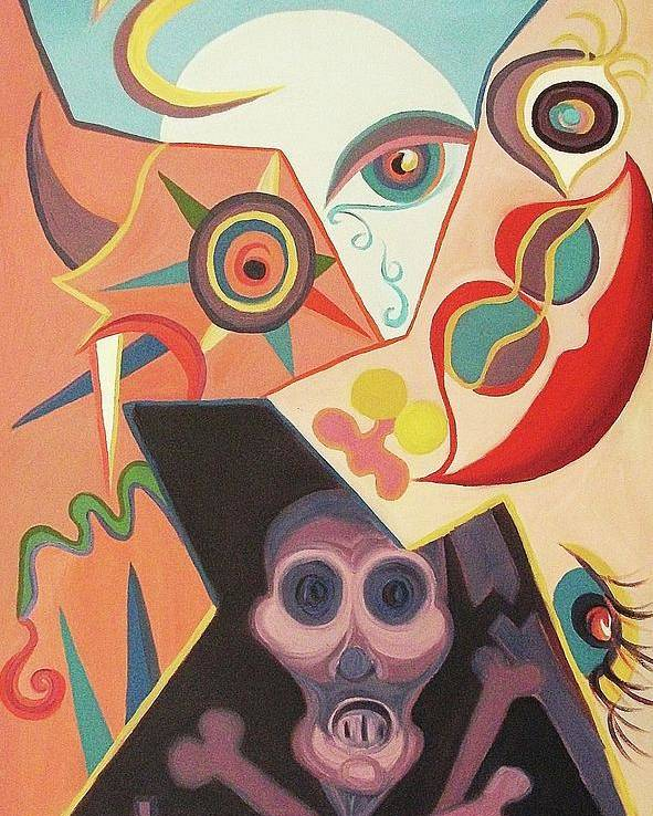 Abstract Poster featuring the painting Life Death Sex Evil by Suzanne Marie Leclair