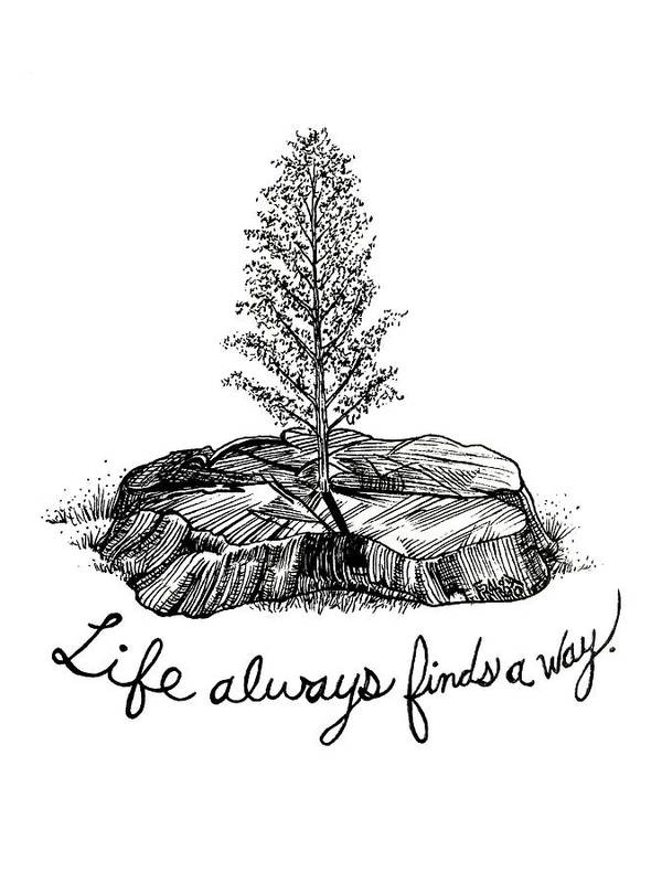 Pen And Ink Illustration Poster featuring the drawing LIfe Always Finds A Way by Rick Frausto