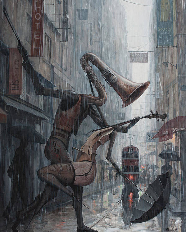 Life Poster featuring the painting Life Is Dance In The Rain by Adrian Borda