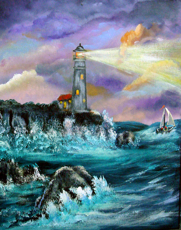 Lighthouse Poster featuring the painting Life's Storms by Darlene Green