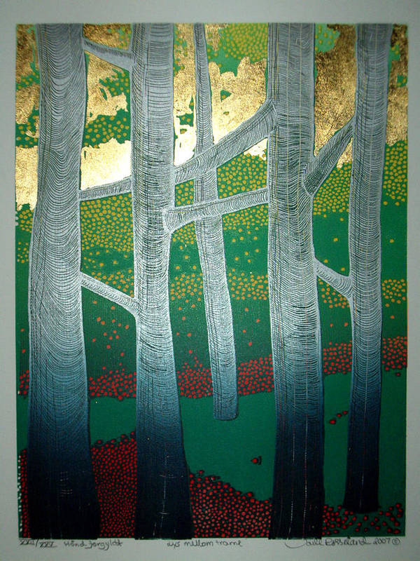 Landscape Poster featuring the mixed media Light Between The Trees by Jarle Rosseland