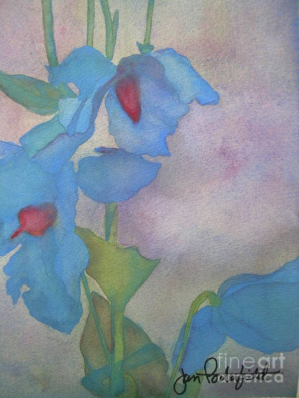 Blue Poster featuring the painting Light Blue Poppies by Jeff Friedman