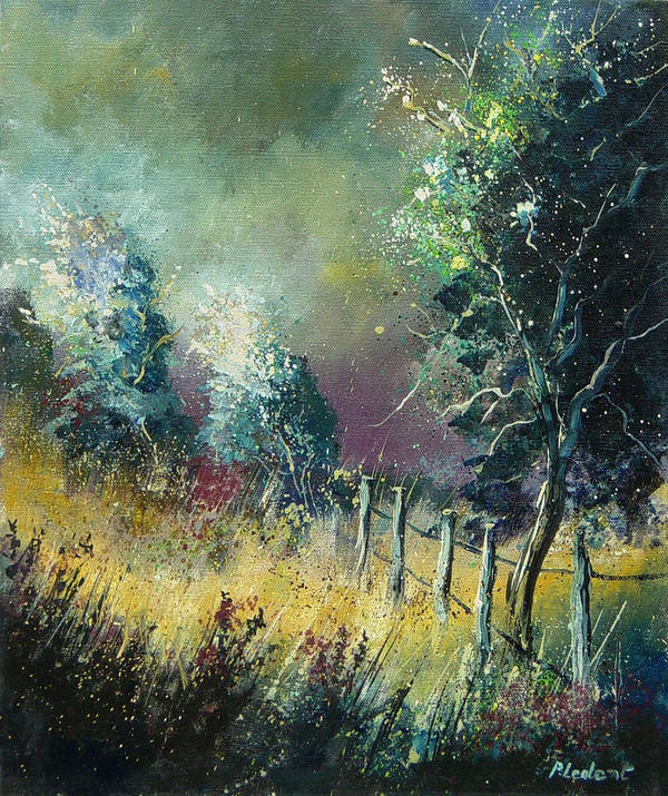 Landscape Poster featuring the painting Light On Trees by Pol Ledent