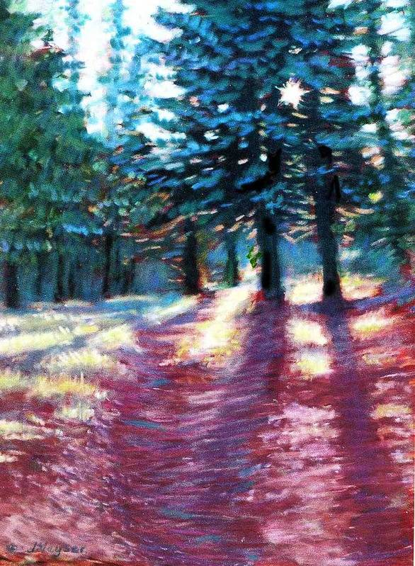 Tall Pine Trees Poster featuring the painting Light Through The Pines by Julie Mayser