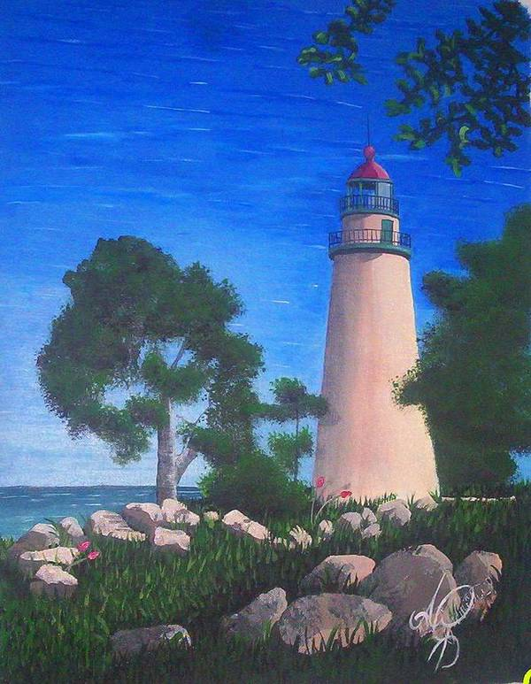 Angela Mustin Poster featuring the painting Lighthouse by Angela Mustin