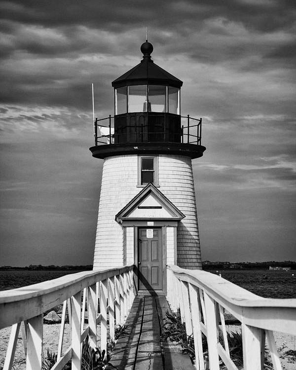 Building Poster featuring the photograph Lighthouse At Nantucket Island II - Black And White by Hideaki Sakurai