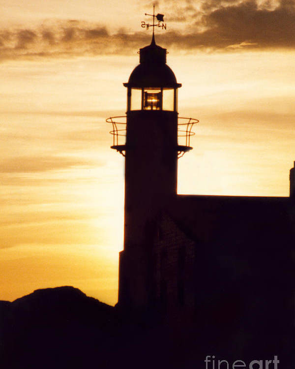 Serene Poster featuring the photograph Lighthouse At Sunset by Mary Mikawoz