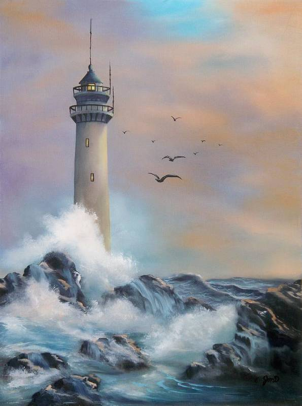 Lighthouse Poster featuring the painting Lighthouse by Joni McPherson