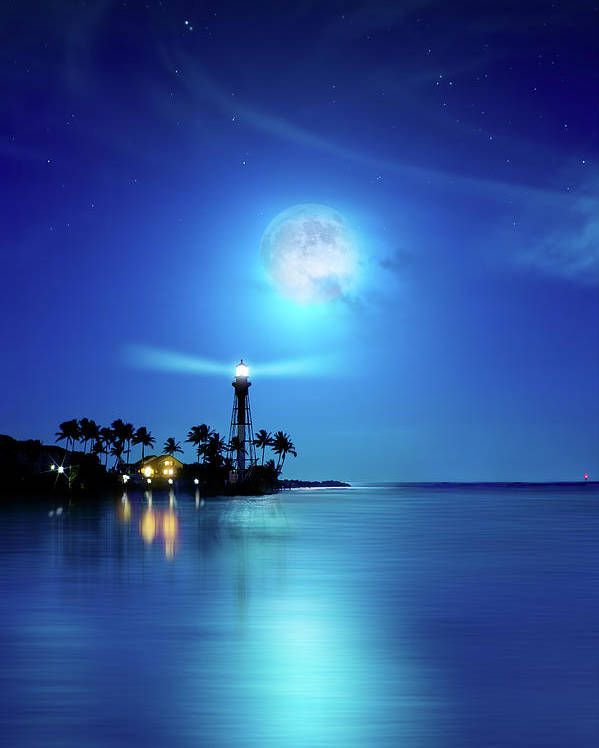 Hillsboro Lighthouse Poster featuring the photograph Lighthouse Moon by Mark Andrew Thomas