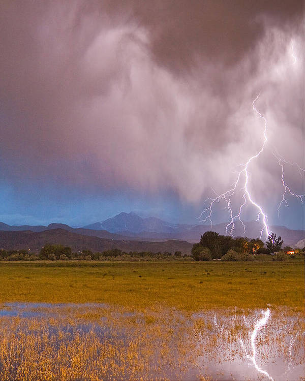 Lightning Poster featuring the photograph Lightning Striking Longs Peak Foothills 7c by James BO Insogna