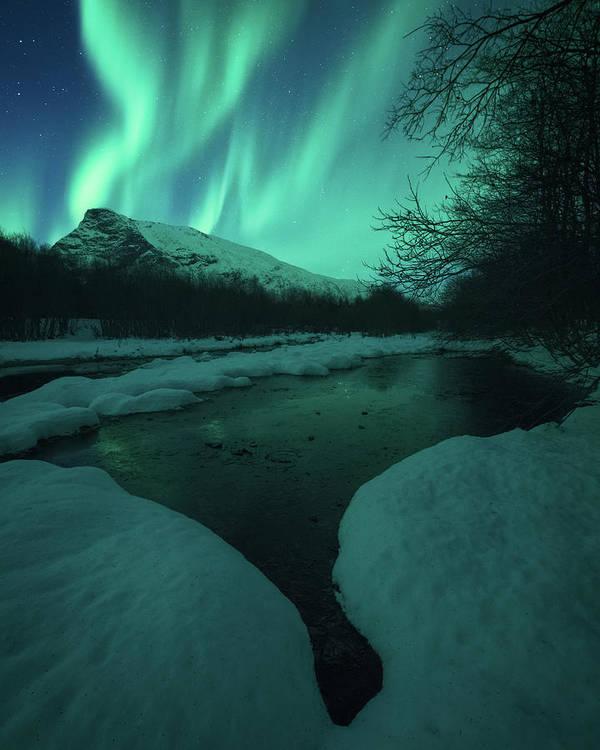 Northern Lights Poster featuring the photograph Lights Above Kjellerkampen by Tor-Ivar Naess