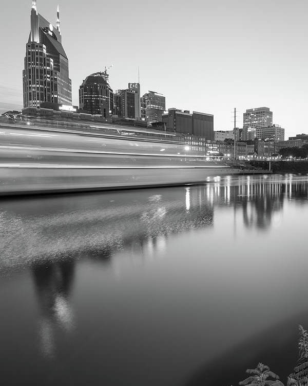 America Poster featuring the photograph Lights Through The Nashville Skyline In Black And White by Gregory Ballos