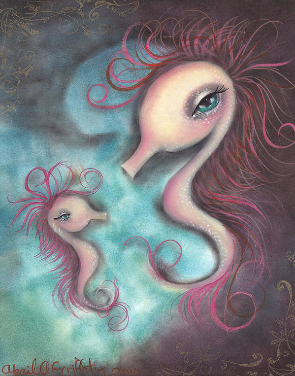 Sea Horse Poster featuring the painting Like You by Abril Andrade Griffith