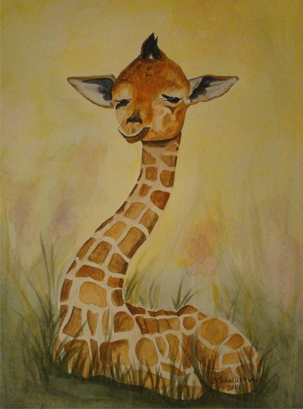 Giraffe Poster featuring the painting Li'l Herbert by Bonnie Schallermeir
