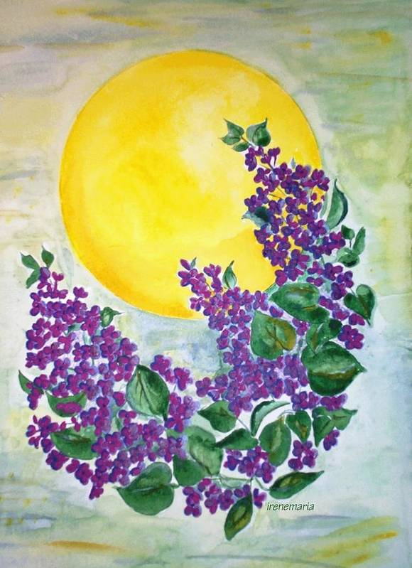 Lilacs In June Poster featuring the painting Lilacs In The Midnight Sun by Irenemaria