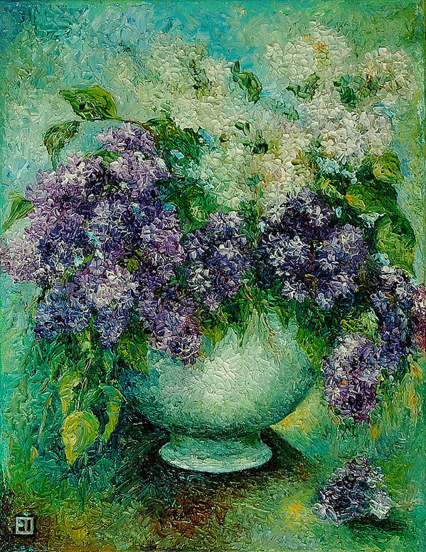Flowers Poster featuring the painting Lilacs No 4. by Evgenia Davidov