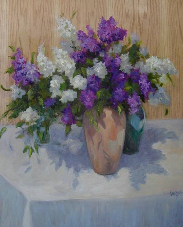 Lilacs Poster featuring the painting Lilacs by Patricia Kness