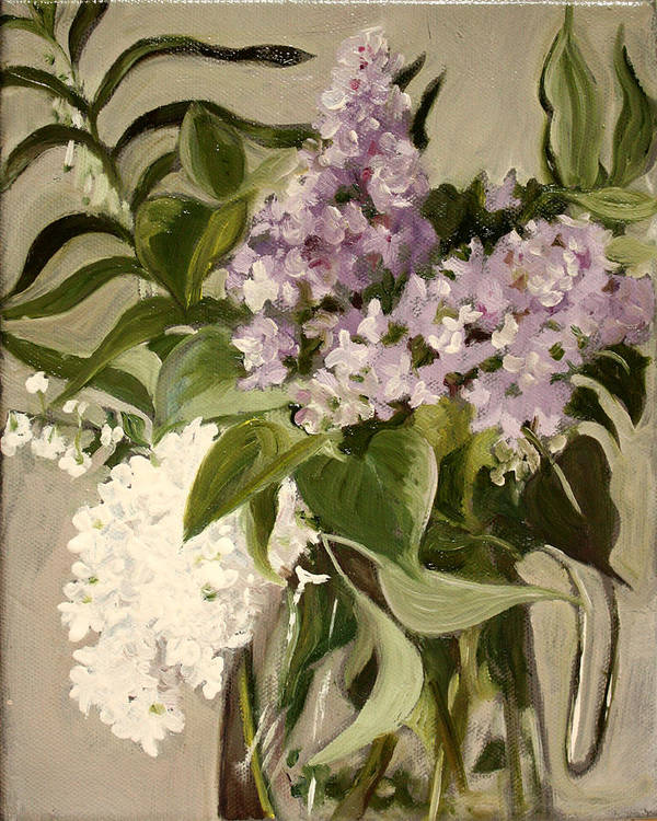 Still-life Poster featuring the painting Lilacs by Sarah Lynch