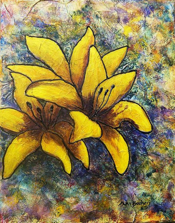 Flowers Poster featuring the painting Lilies by Tami Booher