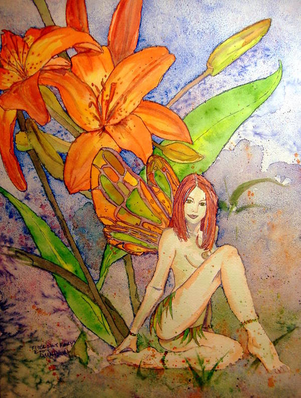 Faerie Poster featuring the painting Lillian Keeper Of Both Wealth And Pride - Watercolor by Donna Hanna