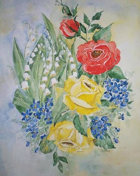 Roses Flowers Poster featuring the painting Lilly Of The Valley In Good Company by Irenemaria Amoroso