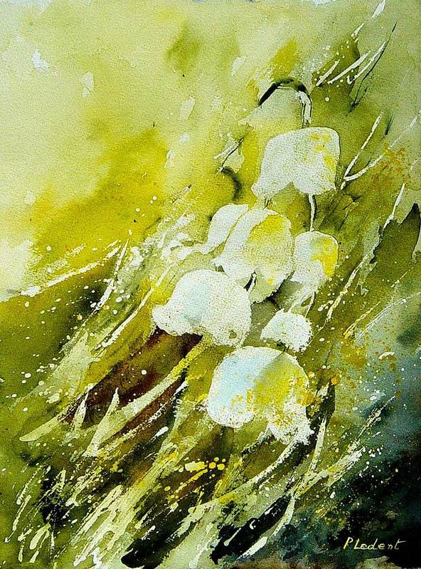 Flowers Poster featuring the painting Lilly Of The Valley by Pol Ledent