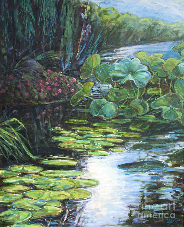 Landscape Poster featuring the painting Lilly Pads by Gary Symington