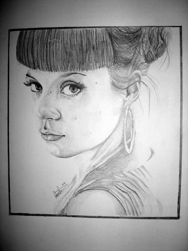 Celeb Portraits Poster featuring the drawing Lily Allen by Sean Leonard