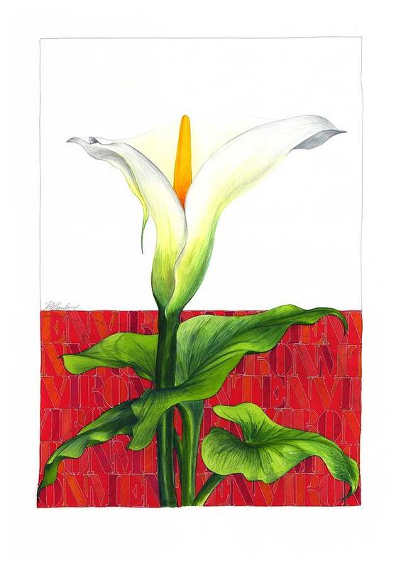 Flower Poster featuring the mixed media Lily In The Environment by Ronald Rosenberg