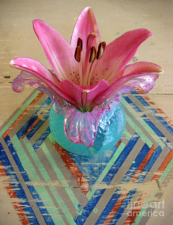 Nature Poster featuring the photograph Lily On A Painted Table Too by Lucyna A M Green