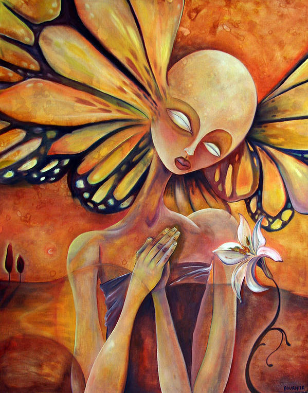 Monarch Poster featuring the painting Lily Prayer by Jenna Fournier
