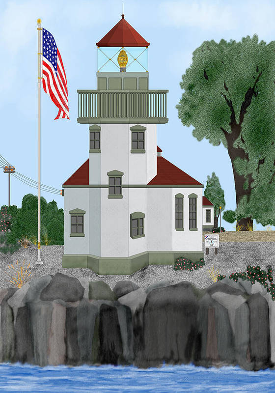 Lighthouses Poster featuring the painting Lime Kiln Light On San Juan Island by Anne Norskog