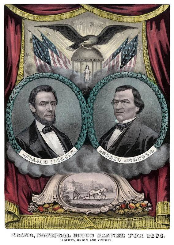 Abraham Lincoln Poster featuring the painting Lincoln And Johnson Election Banner 1864 by War Is Hell Store