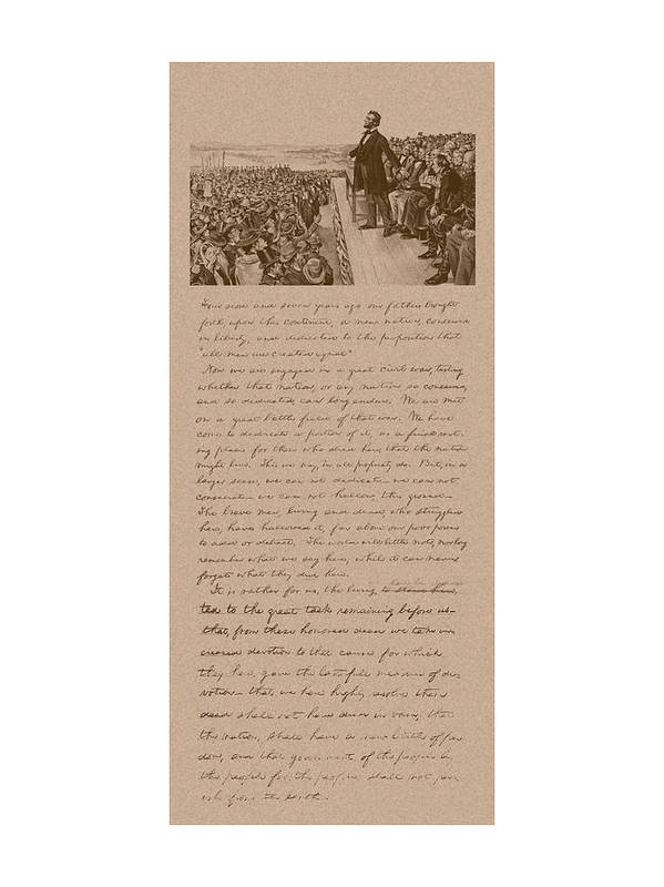 Abraham Lincoln Poster featuring the mixed media Lincoln And The Gettysburg Address by War Is Hell Store