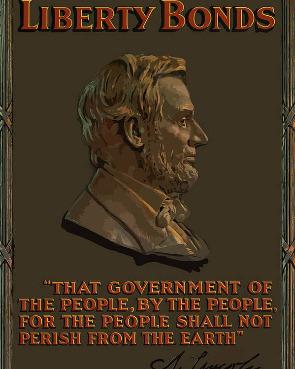 Abe Lincoln Poster featuring the painting Lincoln Gettysburg Address Quote by War Is Hell Store