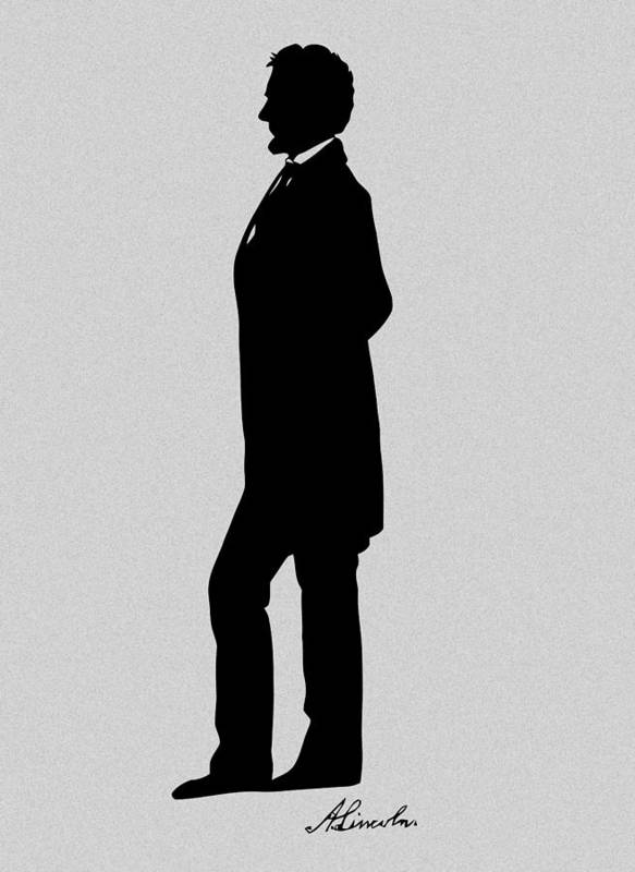 Abraham Lincoln Poster featuring the digital art Lincoln Silhouette And Signature by War Is Hell Store