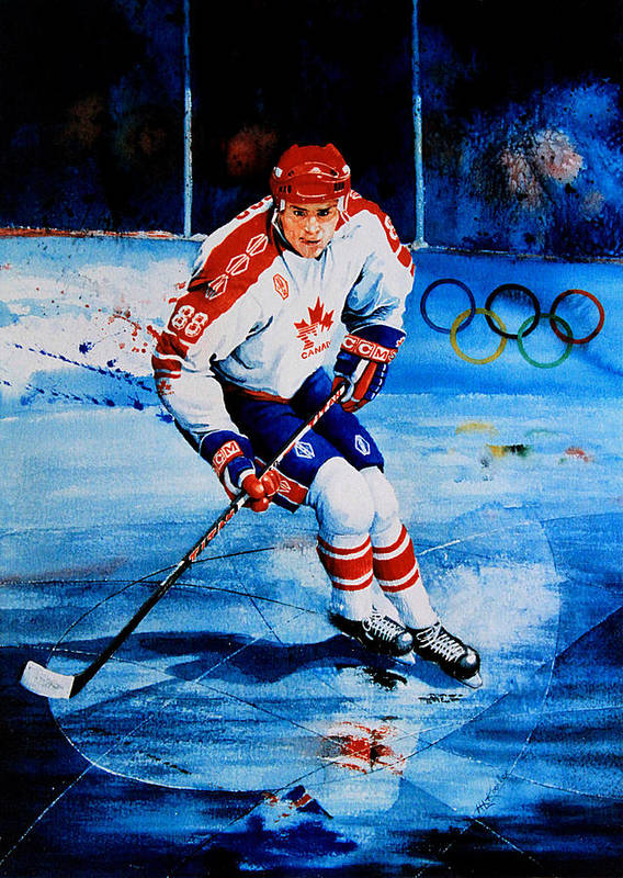 Sports Art Poster featuring the painting Lindros by Hanne Lore Koehler
