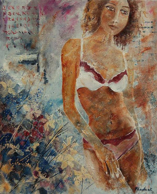 Girl Poster featuring the painting Lingerie 57 by Pol Ledent
