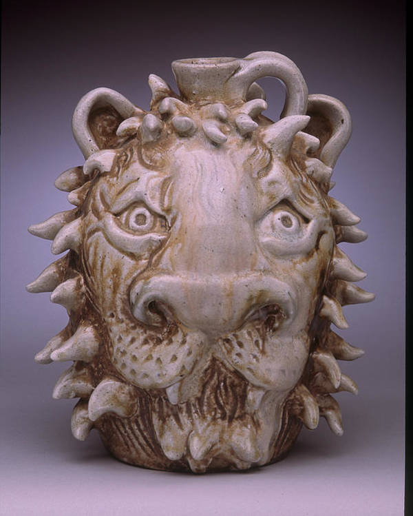 Face Jug Poster featuring the ceramic art Lion Face Jug by Stephen Hawks
