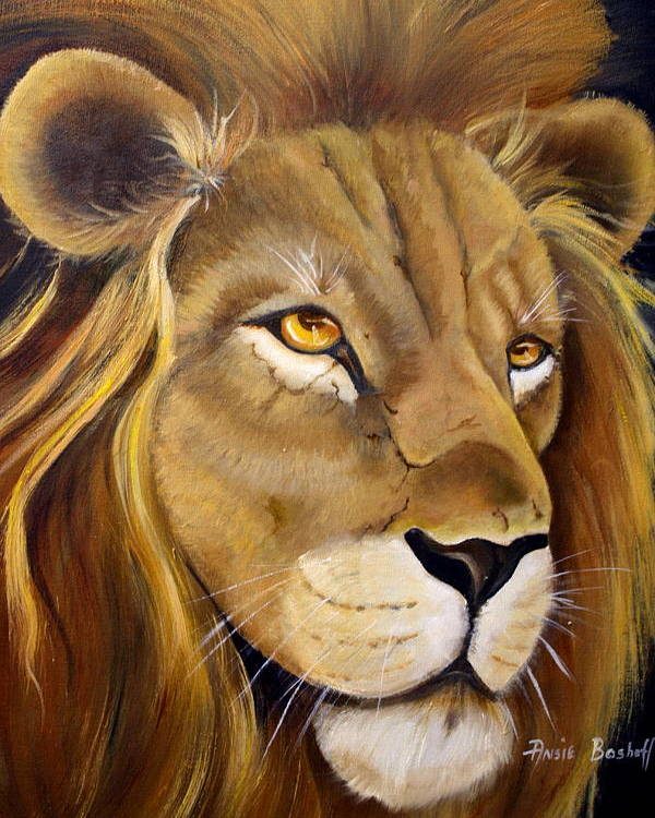 Animals Poster featuring the painting Lion Male by Ansie Boshoff