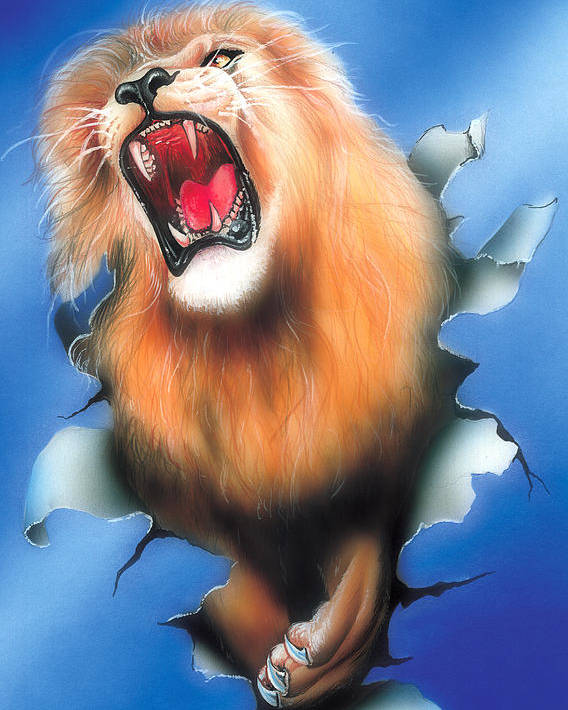 Lion Poster featuring the painting Lion by Nick Freemon