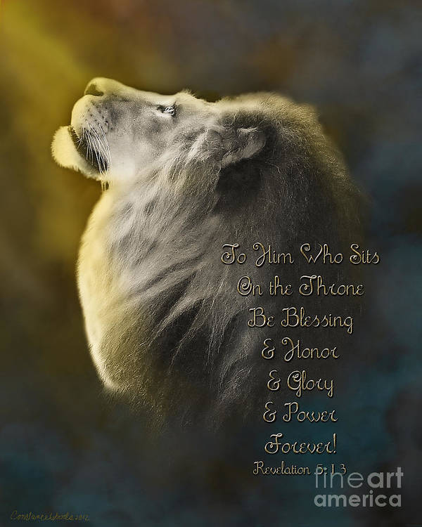Lion Of Judah Art Poster featuring the painting Lion On The Throne In Aqua by Constance Woods