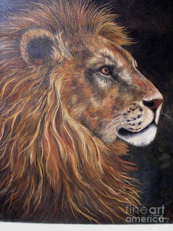 Lion Poster featuring the painting Lions Portrait by Pamela Squires