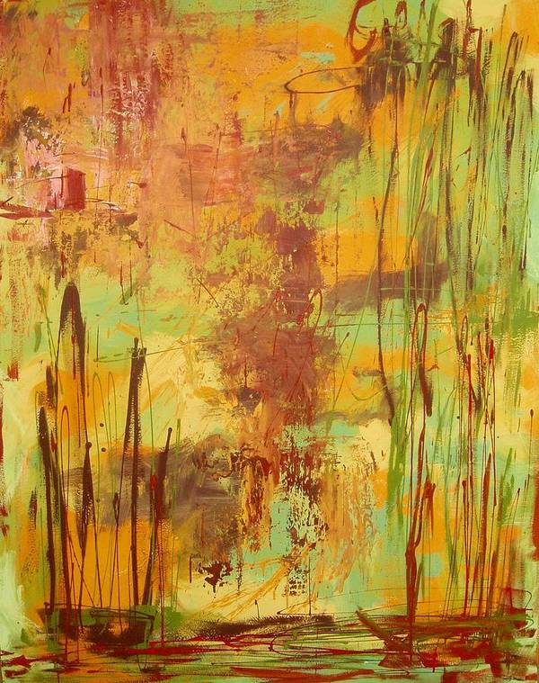 Abstract Poster featuring the painting Liquid Bronze by Maritza Bermudez