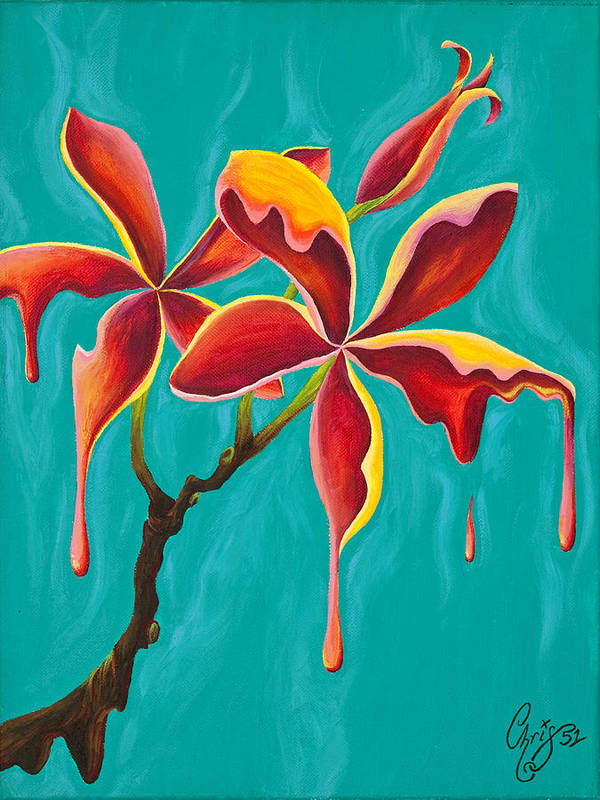 Plumeria Poster featuring the painting Liquidia Plumeria by Chris Fifty-one