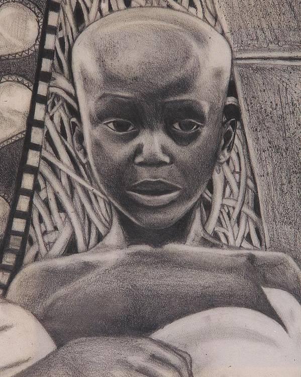 Malik Seneferu Poster featuring the drawing Listen To My Eyes by Malik Seneferu