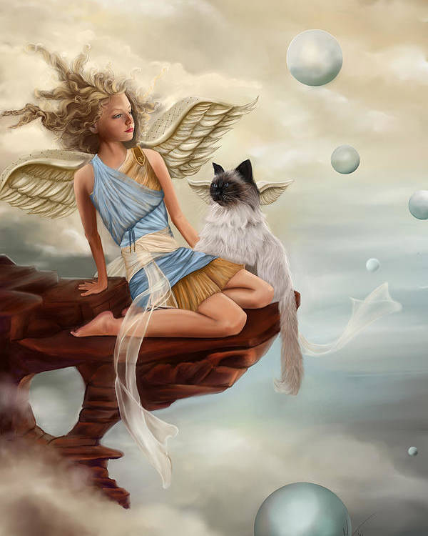 Angel Poster featuring the painting Little Angel by Maggie Terlecki