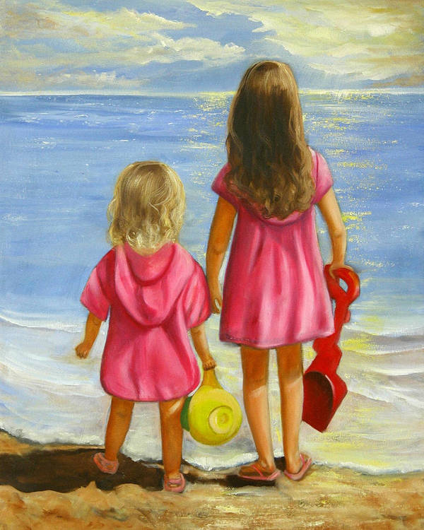 Child Poster featuring the painting Little Beachcombers by Joni McPherson